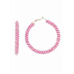 Free Press Pink & White Wrapped Hoop Earrings NWT